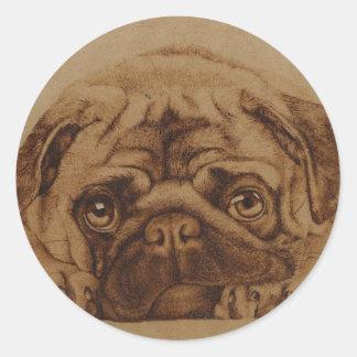 Pug Transfer Classic Round Sticker