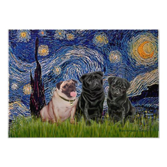Pug Trio (1F,2B) - Starry Night Poster