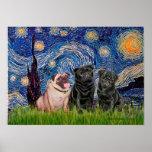Pug Trio (1F,2B) - Starry Night Print