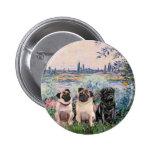 Pug Trio - By the Seine Button