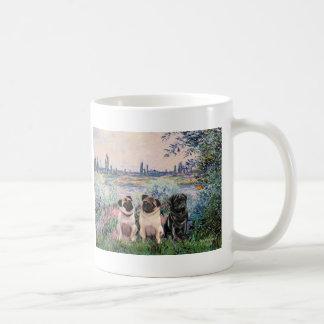 Pug Trio - By the Seine Coffee Mug