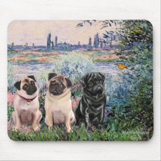 Pug Trio - By the Seine Mouse Pad