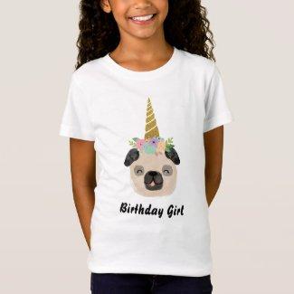 Pug Unicorn Little Girl Birthday Party T-Shirt