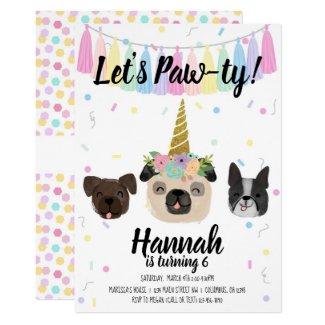 Pug Unicorn Puppy Dog Birthday Invitation