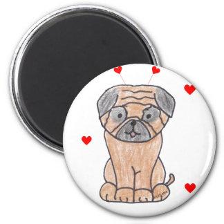Pug Valentine Ears Magnet
