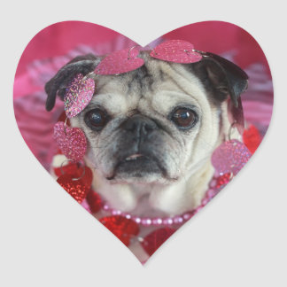 Pug Valentine Heart Stickers
