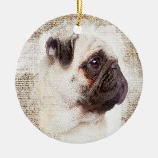 Pug Vintage Portrait Ceramic Ornament