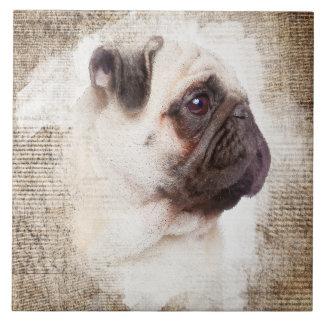 Pug Vintage Portrait Ceramic Tile