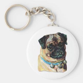 pug vintage portrait keychain