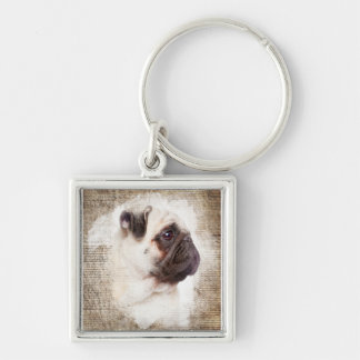 Pug Vintage Portrait Silver-Colored Square Keychain