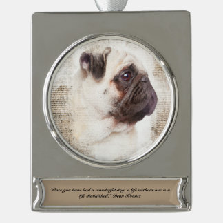 Pug Vintage Portrait Silver Plated Banner Ornament