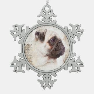 Pug Vintage Portrait Snowflake Pewter Christmas Ornament