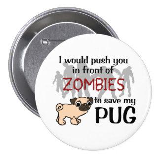 Pug vs Zombies Pinback Button