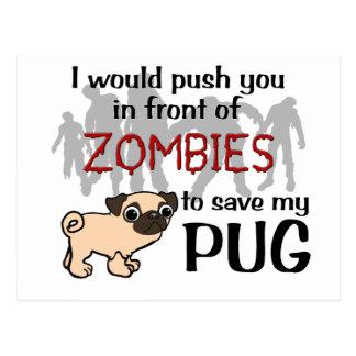 Pug vs Zombies Postcard