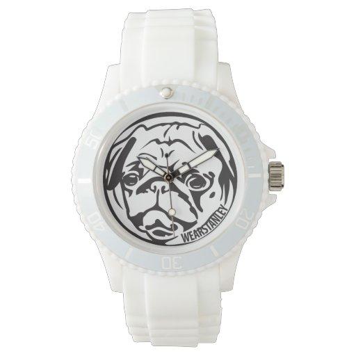 pug watchface white wristwatches