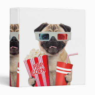 Pug watching a movie 3 ring binder