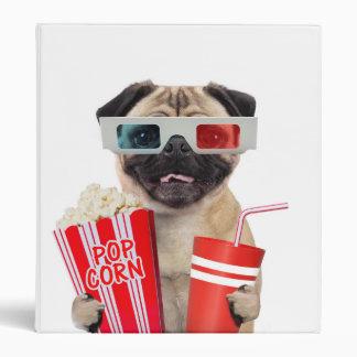 Pug watching a movie binder