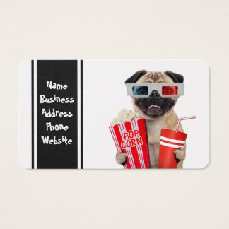 Pug watching a movie business card
