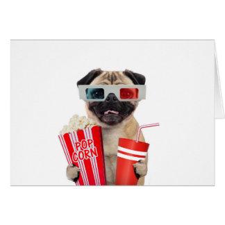 Pug watching a movie card