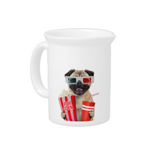 Pug watching a movie drink pitchers