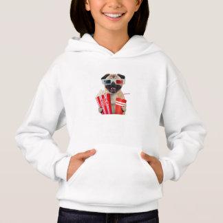 Pug watching a movie hoodie