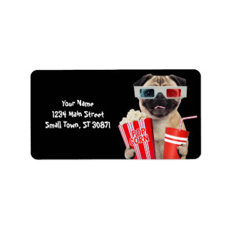 Pug watching a movie label