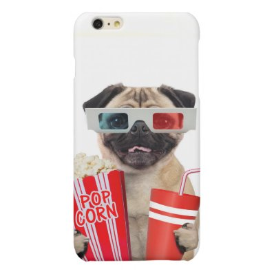 Pug watching a movie matte iPhone 6 plus case