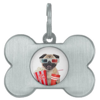 Pug watching a movie pet name tag