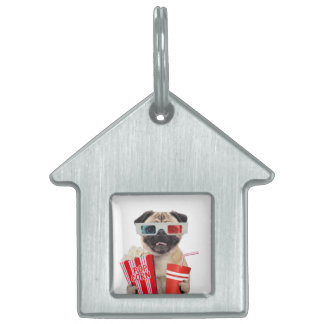 Pug watching a movie pet tag