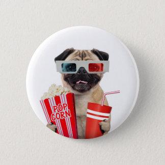 Pug watching a movie pinback button