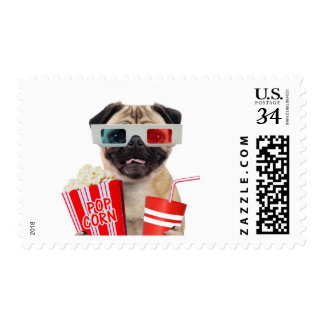 Pug watching a movie postage stamp