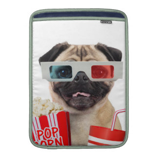 Pug watching a movie sleeve for MacBook air