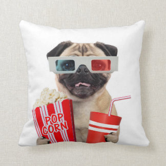 Pug watching a movie throw pillow