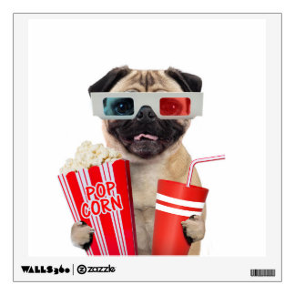 Pug watching a movie wall decal