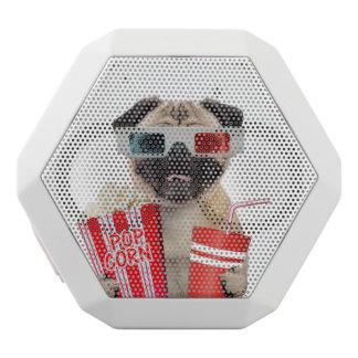 Pug watching a movie white bluetooth speaker