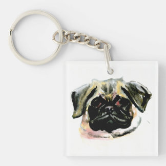 Pug Watercolor Painting Keychain