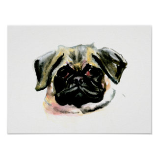 Pug Watercolor Painting Poster