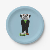 Pug Wearing a Suit Nope 7 Inch Paper Plate
