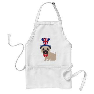 Pug Wearing UK Flag Hat - Customize Adult Apron