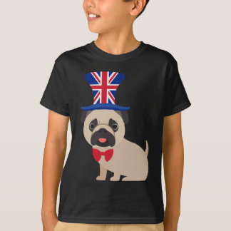 Pug Wearing UK Flag Hat - Customize T-Shirt