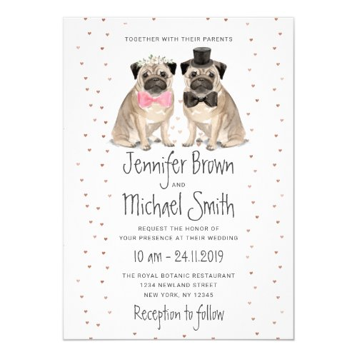 Pug wedding Dog Invitation