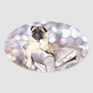 Pug - Willy Oval Sticker