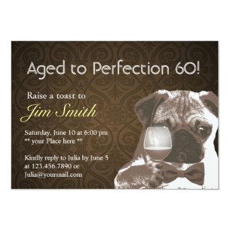 Pug & Wine Perfection 60 Birthday Party Invite