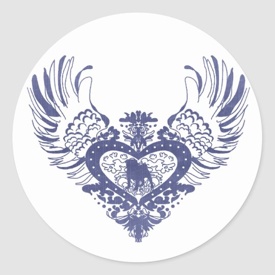 Pug Winged Heart Classic Round Sticker