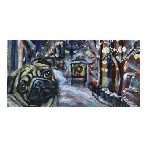 Pug winter scene photo card template