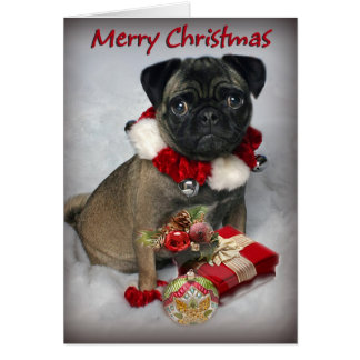 Pug Wishes you Merry Christmas Greeting Card