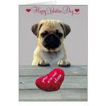 Pug Wishing Happy Valentine's day greeting card