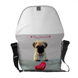 Pug Wishing Happy Valentine's day Heart Bag