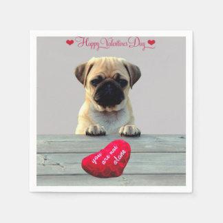 Pug Wishing Happy Valentine's day Heart napkins