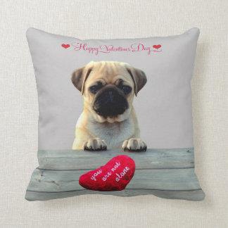 Pug Wishing Happy Valentine's day Heart pillows